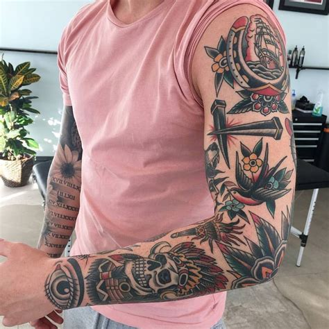 small tattoos for sleeves traditional sleeve traditional and neo