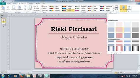membuat kartu nama dengan microsoft office publisher 2007 reengan tutorial membuat kartu nama dengan microsoft