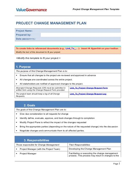 Pm002 01 Change Management Plan Template It Change Management Policy Template
