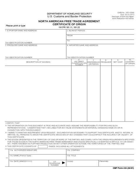 trade agreement template american free trade agreement certificate of origin