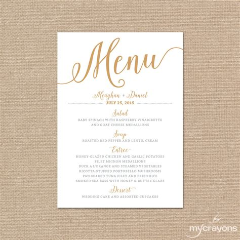 Gold Wedding Menu Card Printable Wedding Menu Bella Script Reception Menu Template