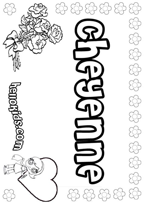 coloring page with name cheyenne coloring pages hellokids com