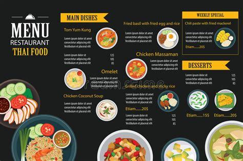 Thai Food Restaurant Menu Template Flat Design Stock Vector Illustration Of Breakfast Design Thai Restaurant Menu Templates Free