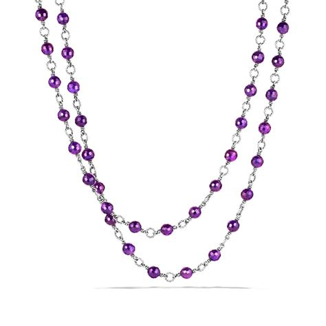 amethyst bead necklace david yurman bead necklace with amethyst in purple lyst