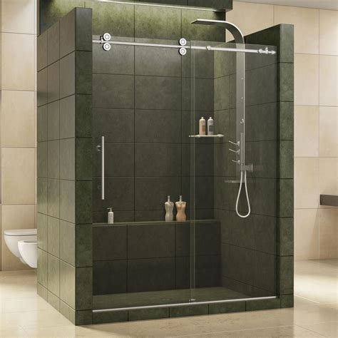 Glass For Shower Doors Dreamline Enigma 56 In To 60 In X 79 In Frameless Sliding Shower Door In Polished Stainless