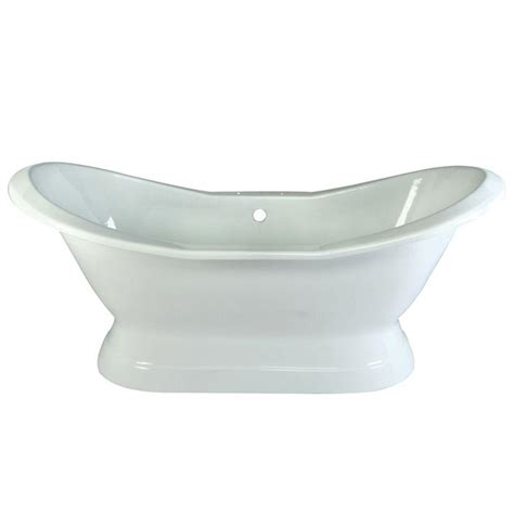 six foot bathtub aqua eden 6 ft cast iron polished chrome claw foot double slipper tub in white