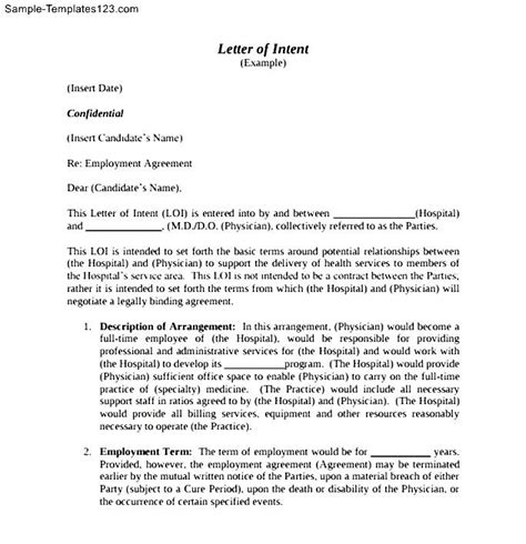 Letter Of Intent For School Pdf letter of intent for employment pdf sle templates sle templates