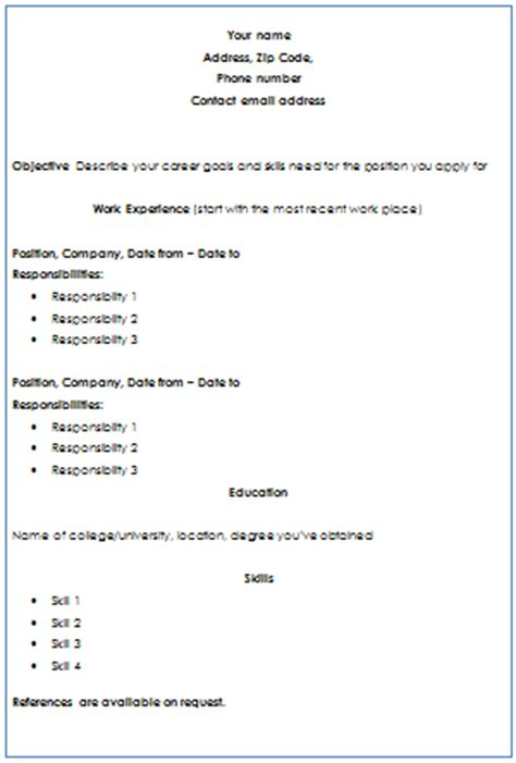 chronological resume format for freshers chronological format of resume writing