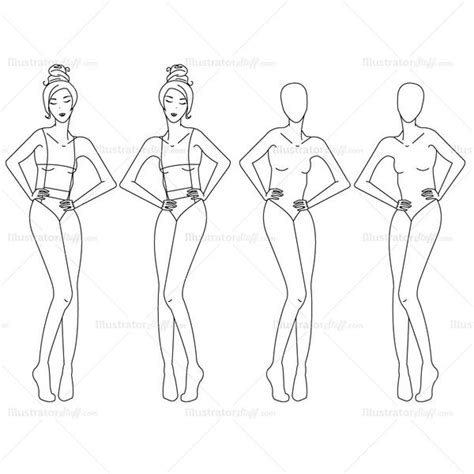 female fashion croquis template illustrator stuff
