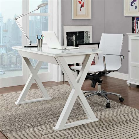 White Glass Desk by Walker Edison Steel And Glass Xtra Computer Desk White