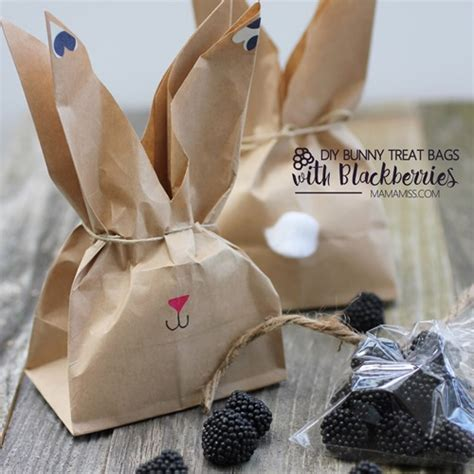 diy bunny treat bags filled  blackberries