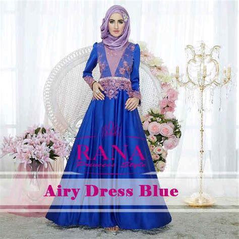 Dres Muslimah Model Ruby Dress Soft Blue Terlaris airy dress by rana blue baju muslim gamis modern