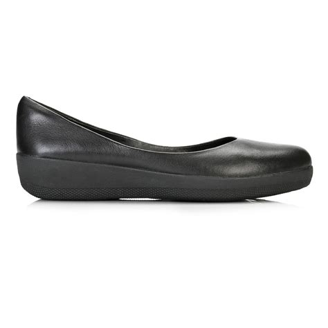 black leather flat shoes womens fitflop womens black leather ballerina flat pumps casual