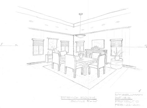 2 Point Perspective Interior Room by Interior Design Perspective Drawing
