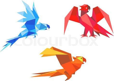 Origami Bird Beak - origami parrots stock vector colourbox