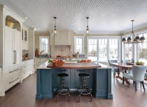 Farmhouse Kitchen Island Ideas Farmhouse Kitchen With Blue Island Home Bunch Interior Design Ideas