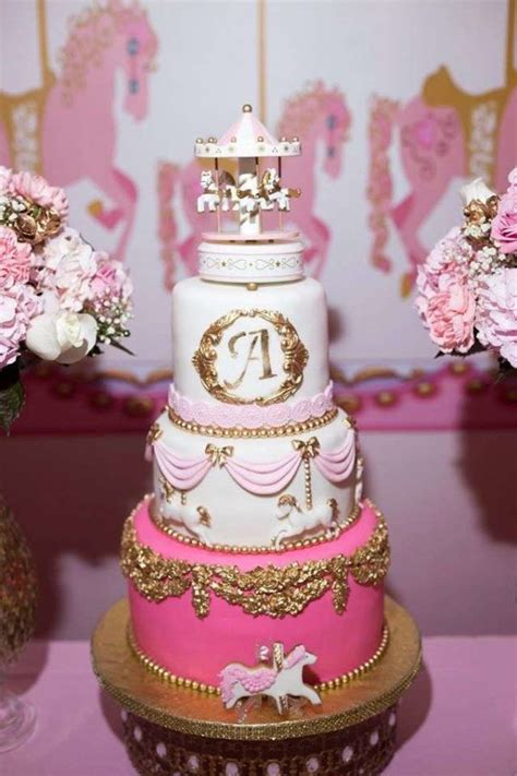carousel  pink baby shower baby shower ideas themes games