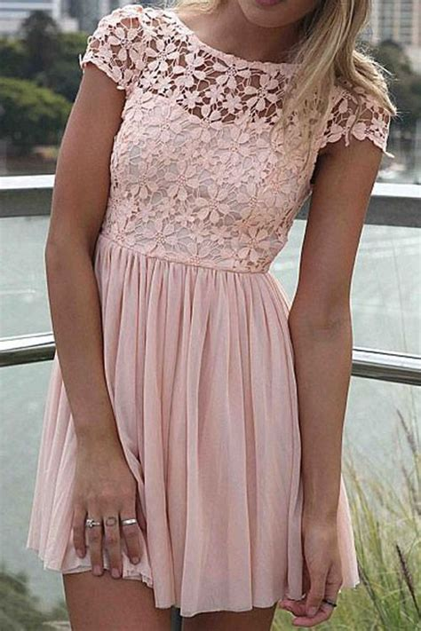 Gbs Lace Dress Baby Pink sleeve crochet flower spliced dress room for more