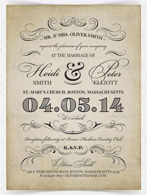 Wedding Invitation Template Works by 26 Vintage Wedding Invitation Templates Free Sle