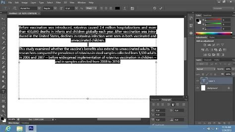adobe illustrator cs6 justify text how to justify the text in photoshop cs6 youtube