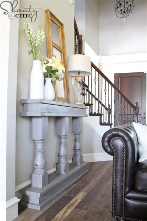 diy console table  turned legs knockoffdecorcom