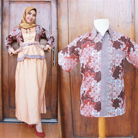 Baju Muslim Batik trend model baju batik kombinasi polos terbaru dan modis