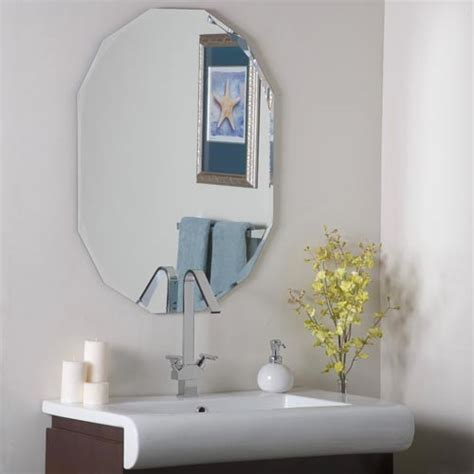 oval shaped bathroom mirrors best decor things beveled frameless bathroom mirrors bellacor beveled