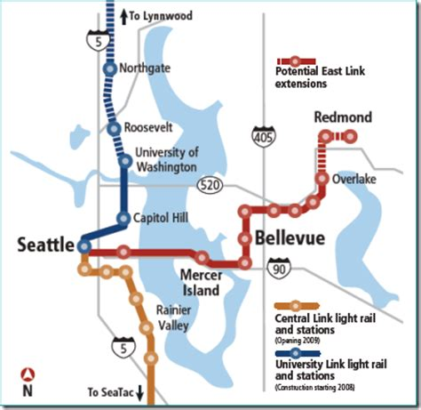 seattle light rail route redmond library january 2009