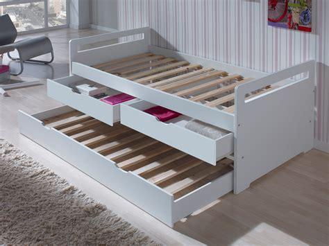 lit tiroir 90x190 lit gigogne en bois 90x190 cm avec sommiers 224 lattes et 2