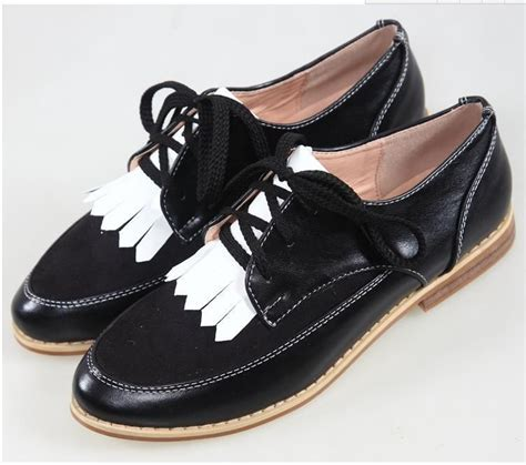 white oxford shoes womens 2015 retro fringed spell color lace up bullock