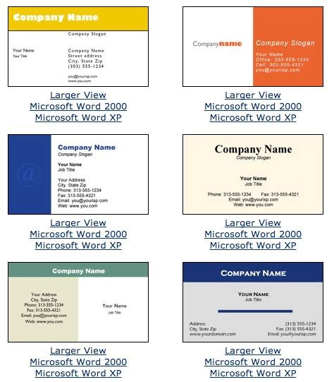 microsoft word name card template name card template word