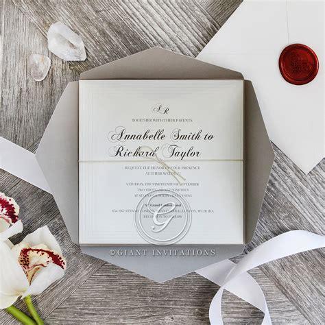 Unique Pocket Wedding Invitations by Vintage Classics Grey And White Regal Wedding Pocket