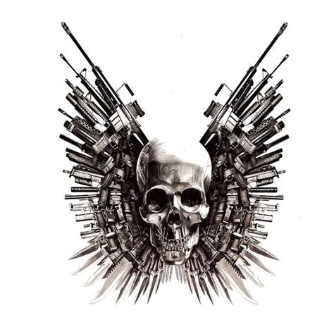3d skull tattoo stickers the expendables 4 in one package
