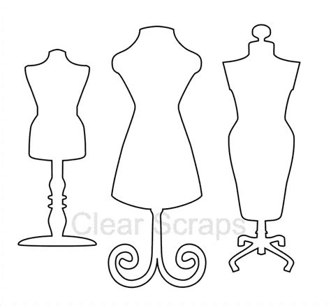 Mannequin Outline by Clear Scraps Clear Acrylic Shapes Dress Forms