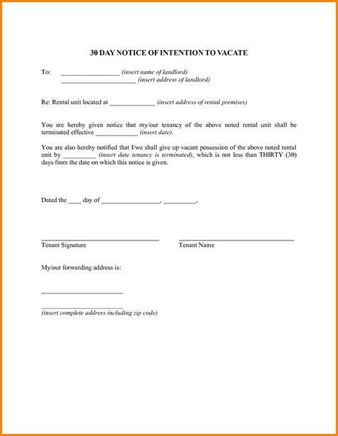written 30 day notice to landlord template 30 day notice to vacate letter best business template