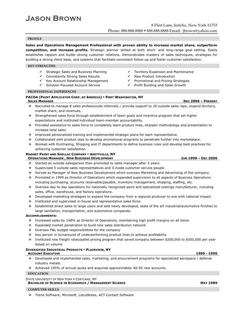 sle resume for regional sales manager career sales management sle resume