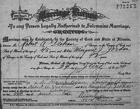 Cook County Marriage License Records Margaret Knowles Genealogy Source Records