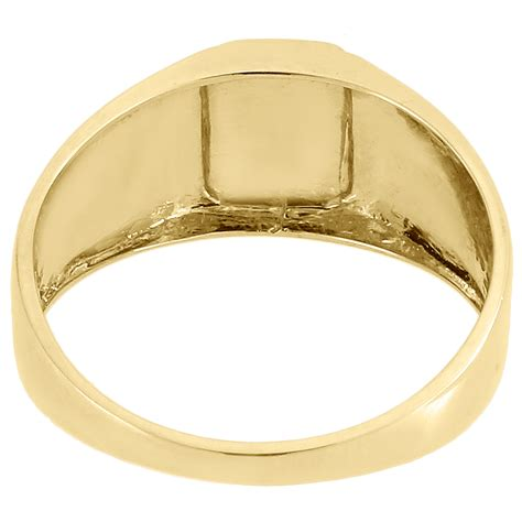 Cross Statement Ring 10k yellow gold ring square top cross