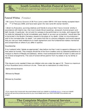 Fillable Funeral Wishes Document Template Edit Print Download Form Templates In Pdf Word Funeral Wishes Document Template