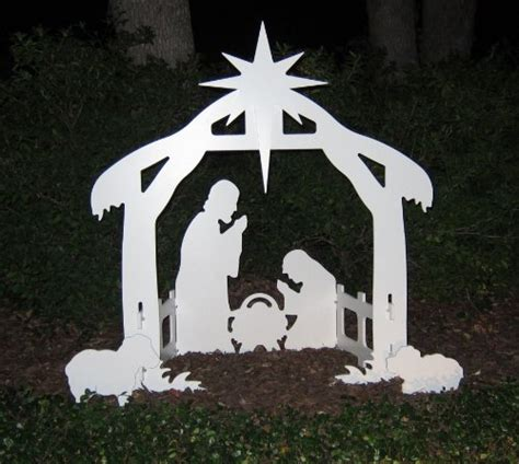 Woodwork Christmas Manger White Silhouette Outdoor Lighted Outdoor Nativity Sets