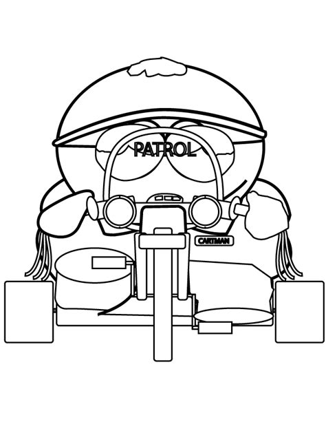 South Park Cartman Police Patrol Coloring Page H M South Park Coloring Pages