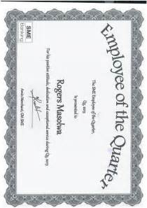 Employee Of The Quarter Certificate Template by Certificate Of Sme Employee Of The Quarter Rogers
