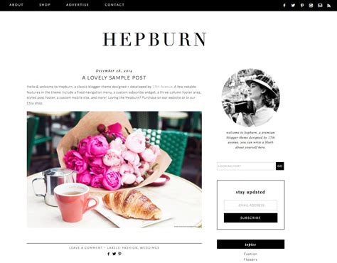 design bloggers blogger template premade blog design hepburn