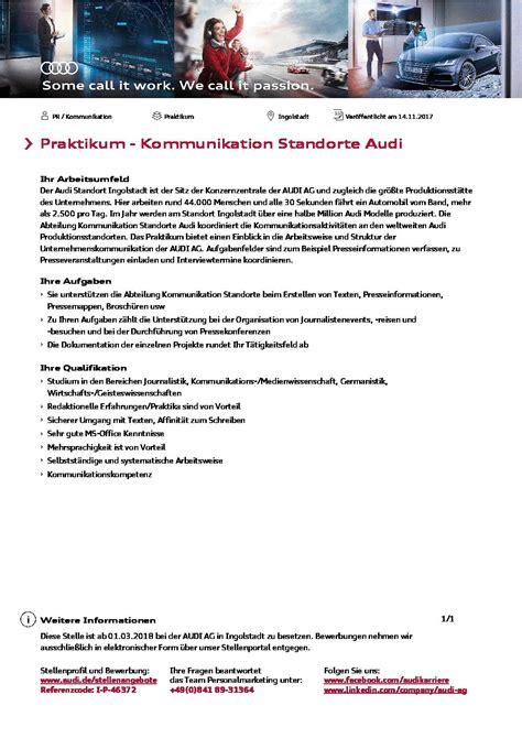 Audi Bewerbung Praktikum audi ag praktikant m w im bereich kommunikation der