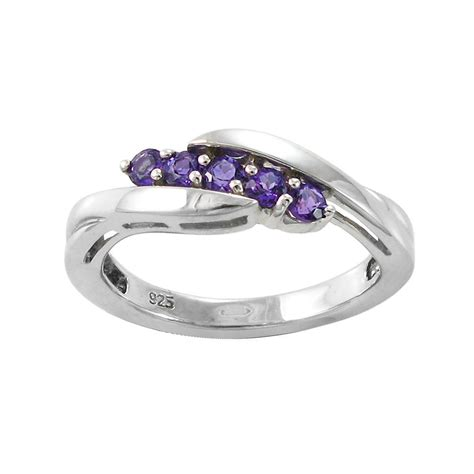 sterling silver five amethyst ring rings