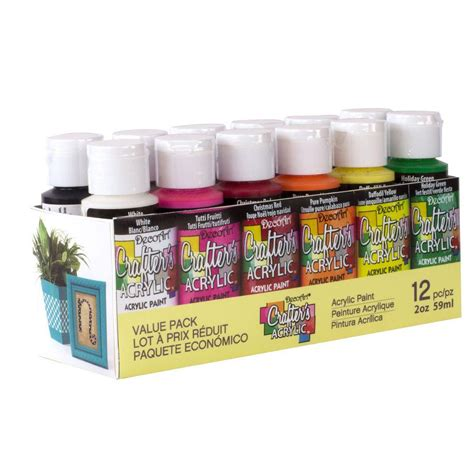 decoart 2 oz 12 color acrylic craft paint set dask353 the home depot