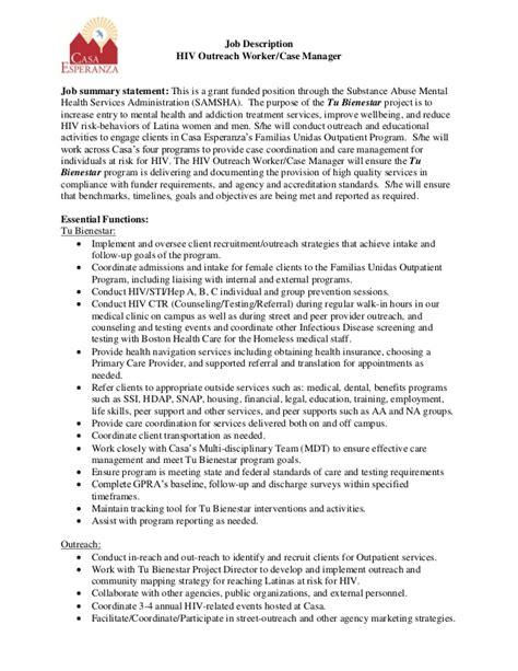 Case Worker Resume Sample by Casa Esperanza Inc Hiv Outreach Case Manager Job Description