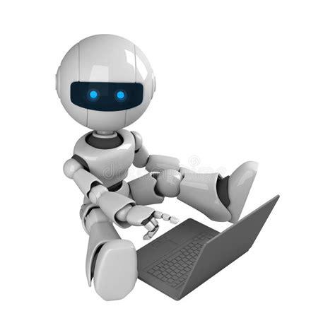 imagenes de robots inteligentes b 228 rbar datorroboten sitter white stock illustrationer
