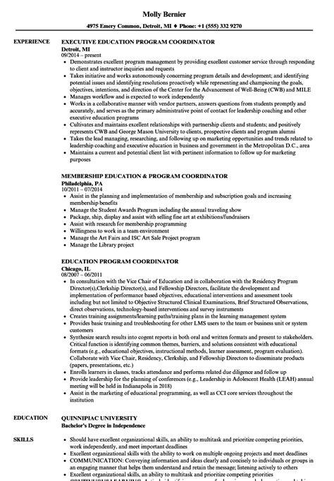 Program Coordinator Resume by Education Program Coordinator Resume Sles Velvet