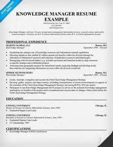 Knowledge Management Officer Sle Resume by Free Knowledge Manager Resume Exle Resumecompanion Career Resumes